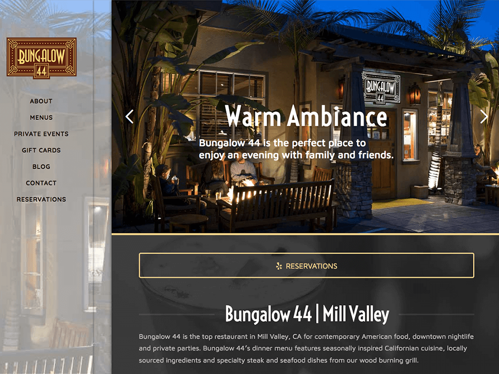 Bungalow 44 website screenshot