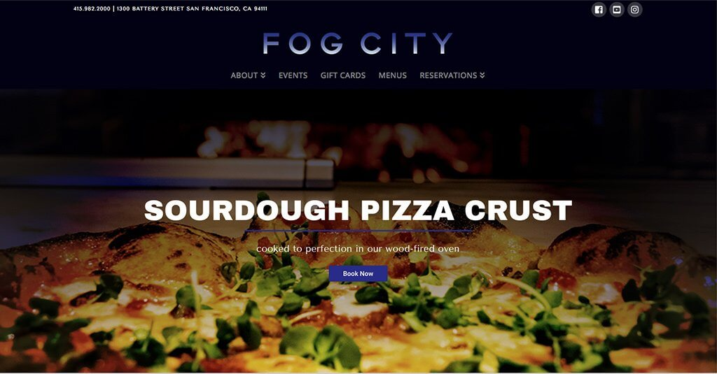 Fog City landing page screenshot pizza