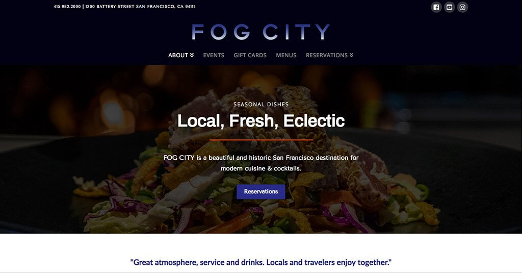 About Fog City landing page screenshot