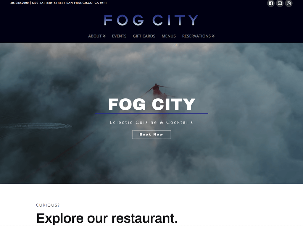 Fog City landing page screenshot